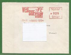Enveloppe Peu Courante : Ema De 1962 - 75 - Paris 123 - West Side Story - Cinema ? - Artistes Associes - 0,25 Franc - Marcophilie (Lettres)