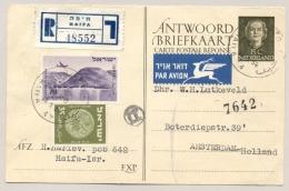 Nederland - 1954 - 15 (+15) Cent Juliana En Face Briefkaart G312A - Reply-card Aangetekend Vanuit Haifa / Israel - Postal Stationery