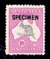 Australia 1917 Kangaroo 10/- 3rd Watermark SPECIMEN Type B MH - Broken Tail - Mint Stamps