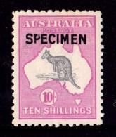 Australia 1917 Kangaroo 10-  3rd Watermark SPECIMEN Type B MH - Listed Variety - 1913-48 Kangaroos
