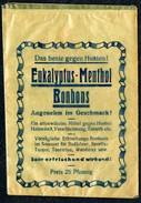 A7106 - Altes Etikett - Werbung - Tüte Eukalyptus Menthol Bonbon - Zuckerwaren Süßwaren - Reklame