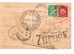 BM Deutsches Reich Mannheim 9/6/27 N.West Africa Windhoek Zurück Swako 1024 - Allemagne