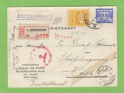 EINGESCHRIEBENER POSTKARTE AUS GAVENHAGE(PARFUMERIE L'ECLAT DE PARIS,DEN HAAG) NACH HALLE MIT ZENSURSTEMPEL,1943. - Lettres & Documents