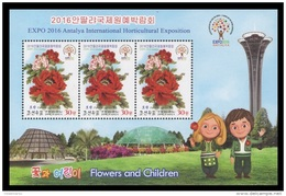 North Korea 2016 Mih. 6287 Flowers And Children. Peony (M/S Of 3 Stamps) MNH ** - Korea, North