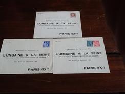 TOP AFFAIRE  RARE  - 3 ENVELOPPES  L URBAINE ET LA SEINE  Dont 1f50 PETAIN - Postal Stamped Stationery