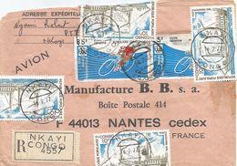 Congo 1977 Nkayi Cycling Paddle Steamer Hamburg Registered Cover - Congo - Brazzaville
