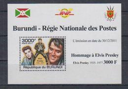 E53. Burundi - MNH - Famous People - Elvis Presley - 2011 - Deluxe - Celebridades