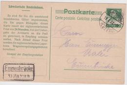 SUISSE 1922 ENTIER POSTAL CARTE DE EMMENBRÜCKE - Brieven En Documenten
