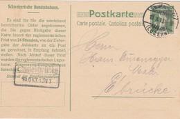 SUISSE 1913  ENTIER POSTAL CARTE DE EMMENBRÜCKE - Brieven En Documenten