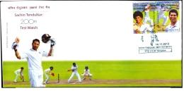 SPORTS-CRICKET-SACHIN TENDULKAR-200th TEST MATCH-FDC-INDIA-2013-IC-275 - FDC