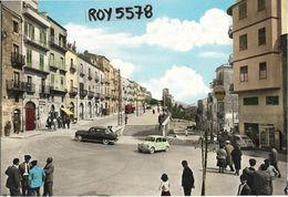 Sicilia-trapani-salemi Piazza Liberta' E Via Matteotti Veduta Auto Epoca Benzinaio Shell  Animatissima Veduta Anni 50/60 - Italia