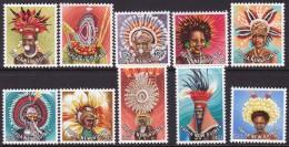 Papua New Guinea 1977 Head Dresses Sc 446-55 Mint Never Hinged - Papua-Neuguinea
