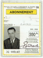 Abonnement. Expo 58. Exposition Universelle De Bruxelles 1958. - Tickets - Entradas