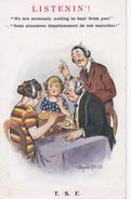 "Carte 1915 Signée Donald Mc Gill Sur La T.S.F ""LISTENIN"" ( Radio) - Mc Gill, Donald"