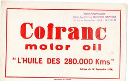 """Buvard (21 X 13.7 ) COFRANC Motor -oil """" L'huile Des 280000 Kms """"(argus Du 16/06/54 ) - Hydrocarbures"""