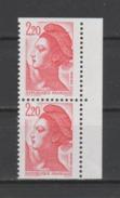 FRANCE / 1986 / Y&T N° 2427a ** : Liberté Carnet 2F20 Paire Verticale - Gomme D'origine Intacte - France