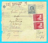 Packet Receipt 1912. ** ERCEGNOVI - CASTELNUOVO DI CATTARO ( Montenegro ) To VERLICCA ( Vrlika Near Knin , Croatia ) - Montenegro