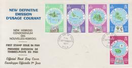 Enveloppe  FDC  1er  Jour   NOUVELLES  HEBRIDES   Cartographie  Des  Iles   1977 - FDC