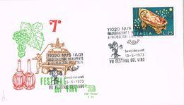 25736. Carta F.D.C. NUS (Ao) 1973. Festival Del VINO, Wein, Uvas - Erinnofilia