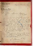 Courrier Ebénisterie Tapisserie Ameublement E. Nercam & Fils Langon 5-12-1896 - Magasin à Saint Macaire - France