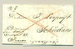 """Nederland - 1844 -  Compleet Vouwbriefje Franco """"per Dilligence Van Koens"""" Van Den Haag Naar Schiedam - Niederlande"""