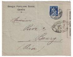 1917 - CACHET BANDE De CENSURE WW1 LETTRE DE SUISSE Pour BOURG AIN OUVERT AUTORITÉ CONTROLE POSTAL MILITAIRE 251 PERFORÉ - Guerra De 1914-18
