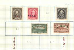 Hobduras 1931 Stamps Ovpr.      Scott.307+308+310+312+315+ N.5 Valori Nuovi See Scans - Honduras