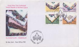 TURKISH REPUBLIC Of NORTHERN CYPRUS :2000: Y.489-92 Neuf/postfris/mint + On FDC:KERCHIEF,FOULARDS BRODÉS,HANDICRAFT, ... - Textile