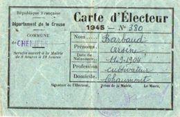 VP10.857 - Commune De CHENIERS -  Carte D'Electeur - Mr A. BARBAUD - Cartes