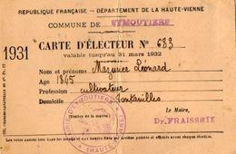 VP10.859 - Commune De EYMOUTIERS  -  Carte D'Electeur - Mr L. MAZURIER - Cartes