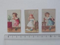CHROMO Mini Format: JOUET Lot 3 Différents Même Série AU PARADIS DES ENFANTS - Fillette Demoiselle - PERREAU BOGNARD - Trade Cards