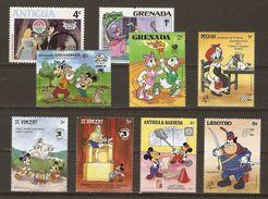 Disney - Petit Lot De 9 Timbres MNH - Mickey - Donald - Daisy - Goofy - Cendrillon - Disney