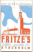 Brochure Toerisme Tourisme - Fritze's Little Guide To Stockholm 1935 - Europe