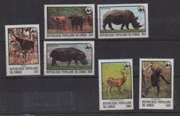 LOT 442 - REPUBLIQUE DU CONGO   N° 499/504  ** -RHINOCEROS  - OKAPI - HIPPOPOTAME.....  - Cote 34 € - Rhinozerosse