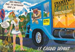"""Carte Humoristique Illustrée """"Le Grand Départ"""" Auto-stopeuse Prête à Monter Auprès D'un Chauffeur Poilu - Trucks, Vans &  Lorries"""