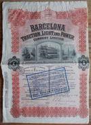 ACTION BARCELONA TRACTION, LIGHT AND POWER 1913 + Lettre Banque De Louvain Leuven (3 Scans) - 114 - Chemin De Fer & Tramway