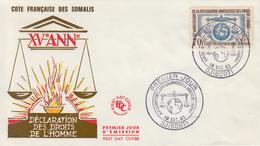 Enveloppe  FDC  1er  Jour   COTE  FRANCAISE  DES  SOMALIS   Déclaration  Des  DROITS  DE  L' HOMME  1963 - Frans-Somaliland (1894-1967)