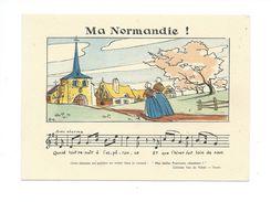 """CHANSON Ma Normandie """" Par Monts Et Par Vaux, Chantons """" Van De Velde TOURS Chromo 125 X 90 Mm TB - Cromos"""