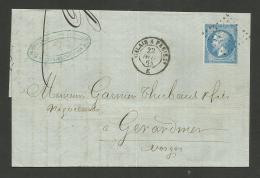 """CALAIS A PARIS """" E """" / LAC De 1884 Pour GERARDMER - Marcophilie (Lettres)"""