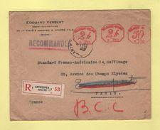Recommande Destination France - Antwerpen Anvers - 1934 - Covers & Documents