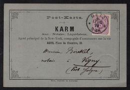 METZ - MOSELLE  / 1879 CARTE COMMERCIALE ILLUSTREE POUR VIGNY PAR SOLGNE  (ref 7537a) - Alsazia-Lorena