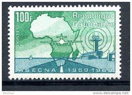 Gabon, 1970, ASECNA, Aviation Safety, Airplane, Map, MNH, Michel 373 - Gabon (1960-...)