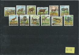Angola 12x Animals,dieren,tiere Used/gebruikt/oblitere(D-12) - Verzamelingen (zonder Album)
