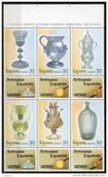 SERIE TIMBRES ESPAGNE NOUVEAUX 1988 HB ARTISANAT - VERRES - VERRES CALICES BOUTEILLES FIOLES - Vidrios Y Vitrales