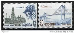 TIMBRE ESPAGNE NOUVEAU 1981 COURRIER AÉRIEN - AVIONS EN SURVOLANT EXPOSITION LATINO-AMÉRICAINE SÉVILLE ET PONT RIA  VIGO - Aviones