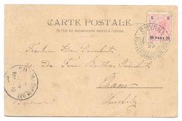 Ganzsache österreichische Post SMYRNA 1899 Nach Cham In Oberpfalz - Levante-Marken