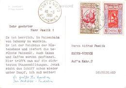 DAHOMEY - PICTURE POSTCARD 1961 PORTO NOVO -> ESSEN/GERMANY - Benin - Dahomey (1960-...)