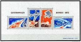 Central African Republic, 1972, Space, Airplane, Centraphilex Stamp Exhibition, MNH Sheet, Michel Block 7 - República Centroafricana
