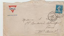 """LSC 1920 - Entête YMCA """" With The Colors"""" - YT N° 140 - Cachets Convoyeurs TOURS à VIERZON - 1877-1920: Periodo Semi Moderno"""