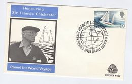 1967 GB Francis Chichester FDC SAILING With ADVERT Pic 'PURE NEW WOOL' Plymouth Port Cover Stamps Yacht - FDC